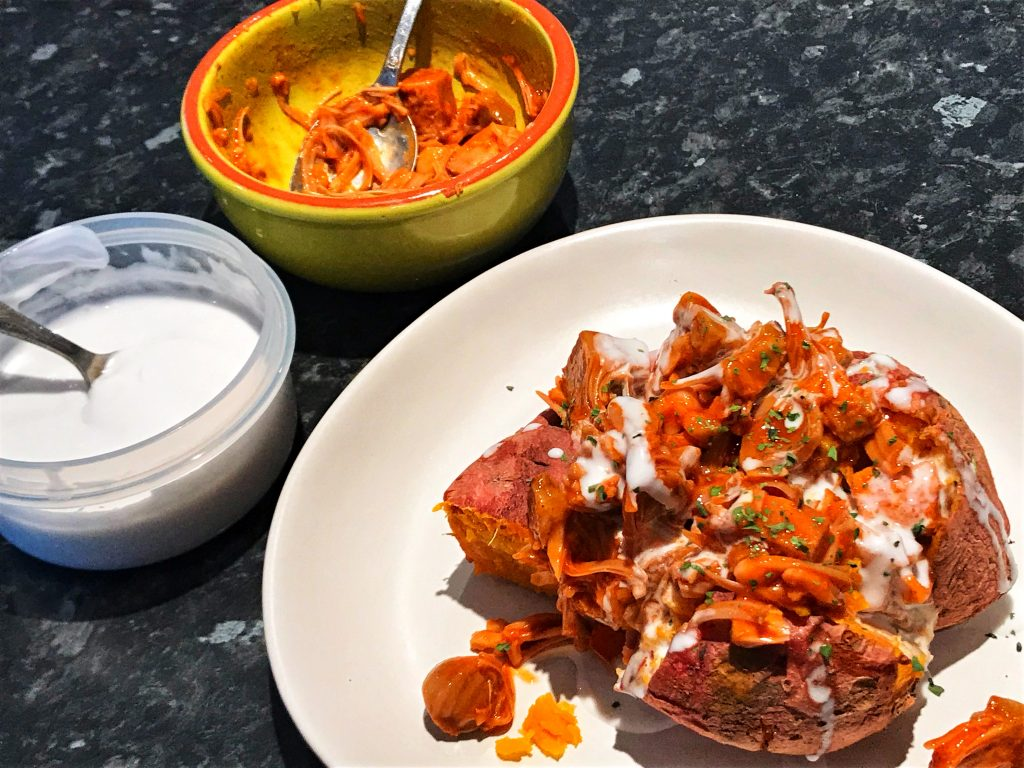 buffalo jackfruit stuffed sweet potato