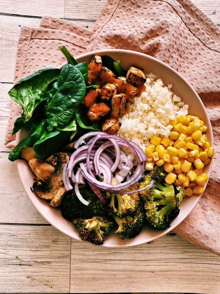 Lemon + herb tofu buddha bowl with cauliflower rice